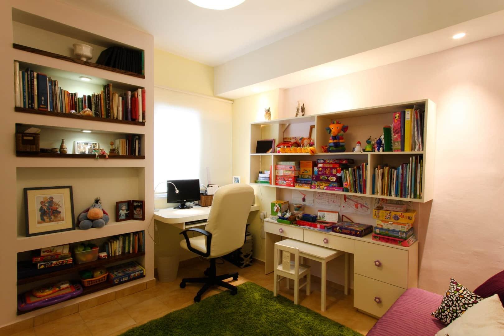 עיצוב דירות קטנות, חדר דו שימושי בדירה בנס ציונה, ענבל קרקו עיצוב פנים ופנג שואי