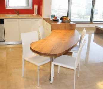 עיצוב דירת יוקרה, דלפק אכילה במטבח, עיצוב פנים ופנג שואי, ענבל קרקו