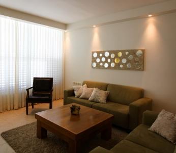 עיצוב פנים דירה בנס ציונה, הריהוט בסלון על רקע הוילון, ענבל קרקו, עיצוב פנים ופנג שואי