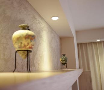 עיצוב פנים דירה בגבעתיים, שילוב תאורה בנישת הסלון, ענבל קרקו, עיצוב פנים ופנג שואי