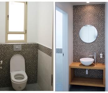 עיצוב סלון קטן וצבעוני, שירותי האורחים, ענבל קרקו, עיצוב פנים ופנג שואי