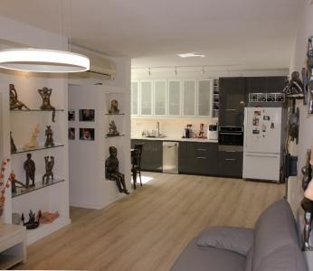 עייצוב דירה של אומן, סלון ומטבח, עיצוב פנים ופנג שואי, ענבל קרקו