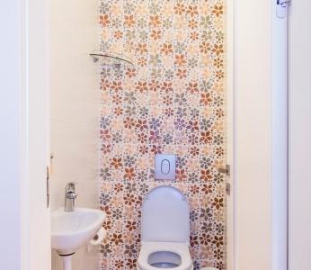 עיצוב דירת קבלן ברחובות, פרחים בשירותי אורחים, עיצוב פנים ופנג שואי, ענבל קרקו