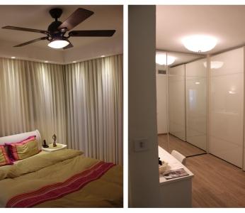 עיצוב פנים מודרני חם בגן יבנה, חדר השינה וחדר ארונות, ענבל קרקו, עיצוב פנים ופנג שואי