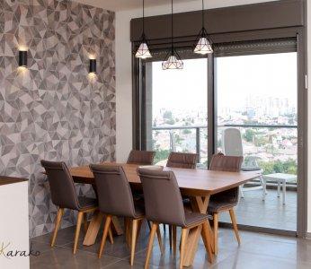 עיצוב בית לבני 60 +, פינת האוכל צופה אל הנוף, ענבל קרקו, עיצוב פנים ופנג שואי