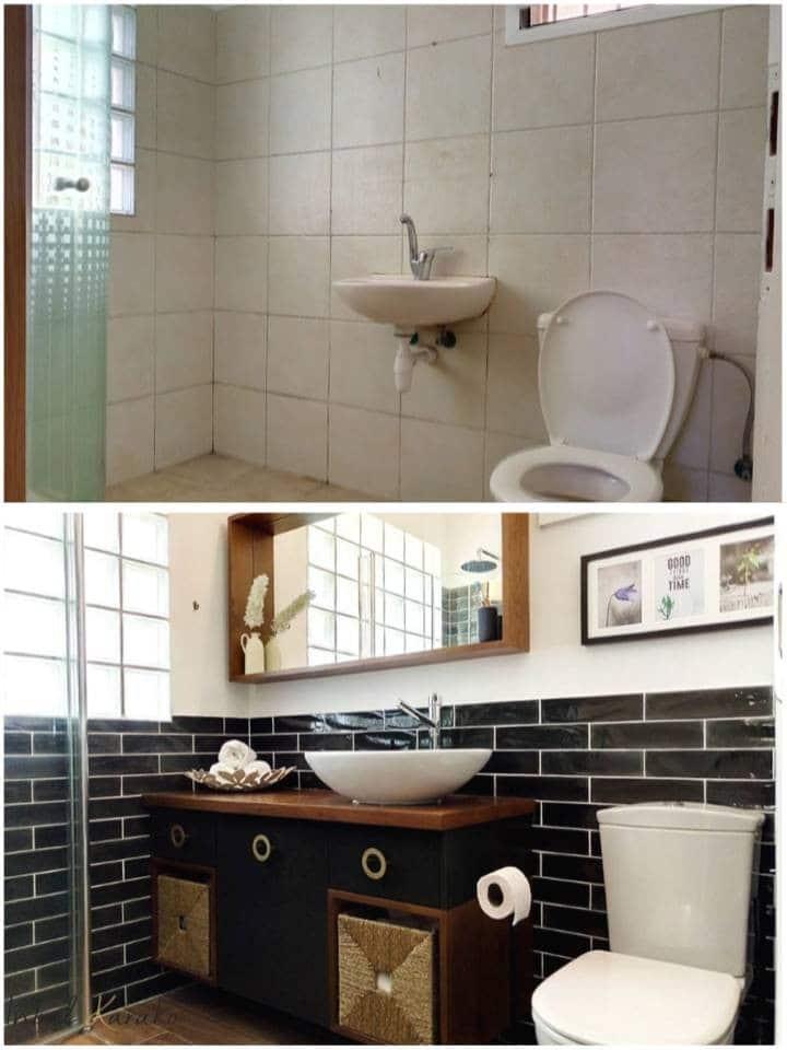 שיפוץ דירה לפני ואחרי, מקלחת בנס ציונה, ענבל קרקו עיצוב פנים ופנג שואי