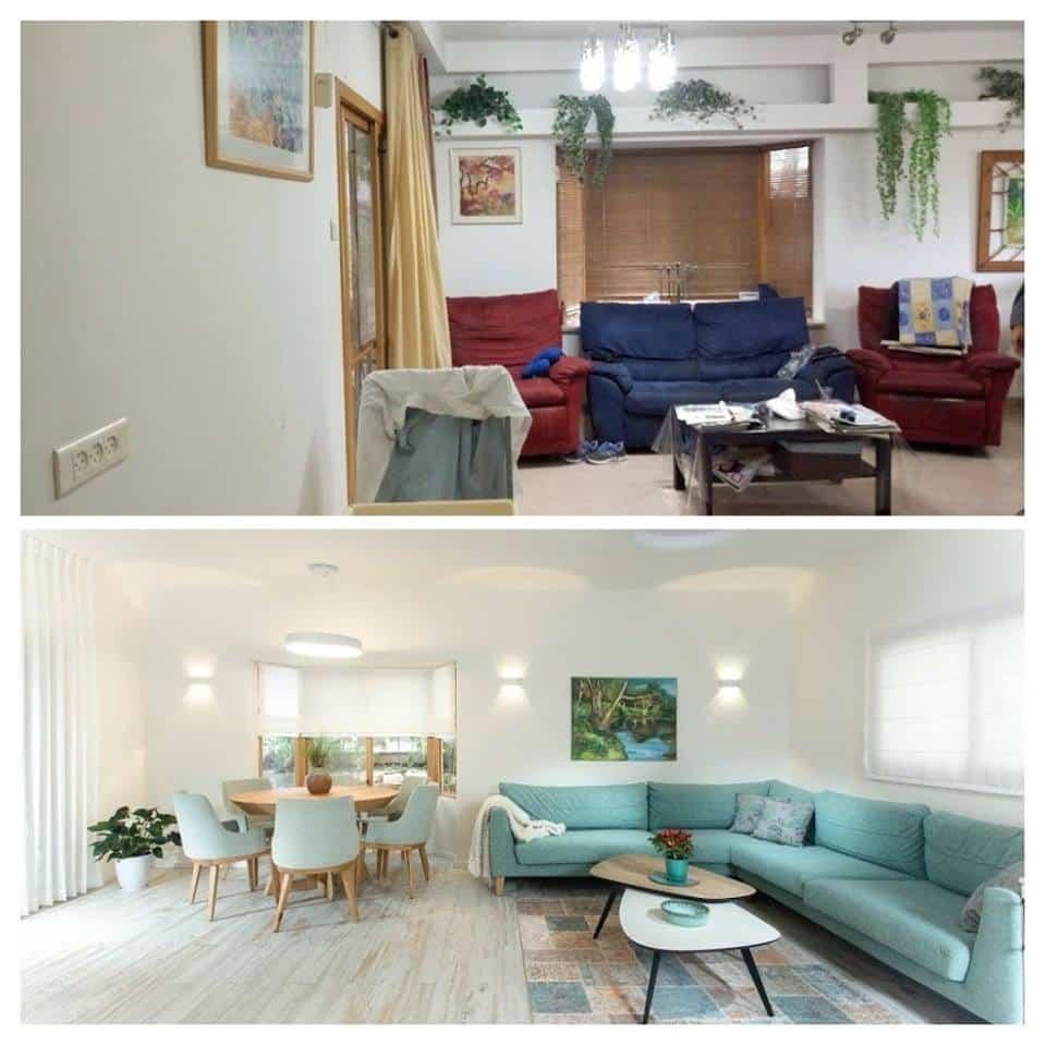 שיפוץ דירה לפני ואחרי, סלון במשואות יצחק, ענבל קרקו עיצוב פנים ופנג שואי