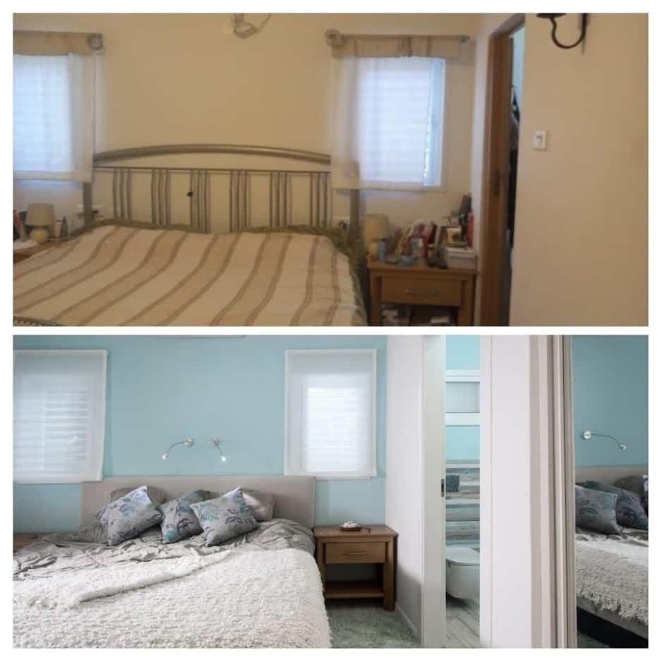 שיפוץ בית לפני ואחרי, חדר שינה במשואות יצחק, ענבל קרקו עיצוב פנים ופנג שואי
