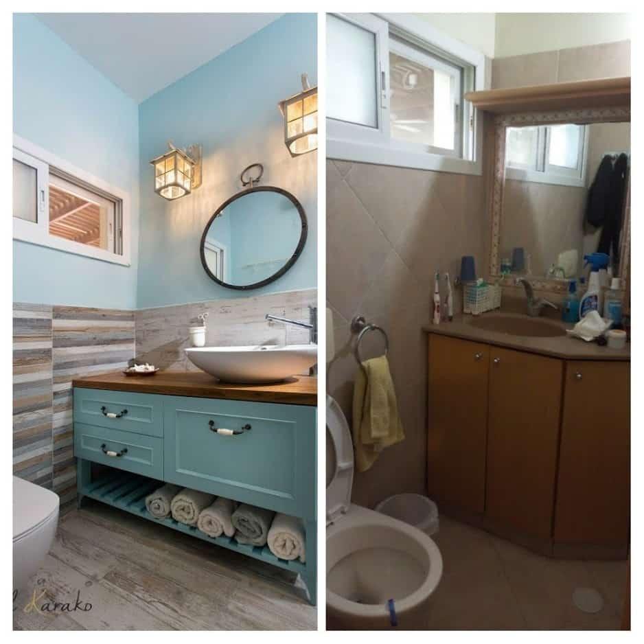 שיפוץ דירה לפני ואחרי, מקלחת במשואות יצחק, ענבל קרקו עיצוב פנים ופנג שואי