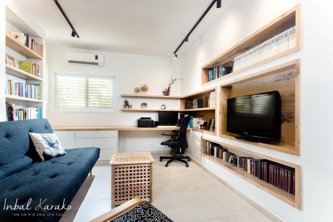 חדר עבודה בבית פרטי שעיצבתי, איך לבחור מעצבת פנים במרכז, ענבל קרקו עיצוב פנים ופנג שואי