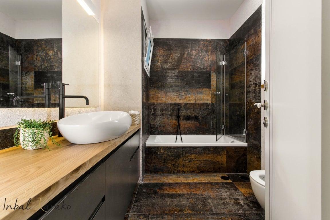 עיצוב דירות יוקרה, מקלחת בדירת יוקרה, ענבל קרקו עיצוב פנים ופנג שואי
