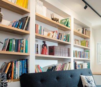 עיצוב בית פרטי ברחובות, תקריב ספריה, ענבל קרקו עיצוב פנים ופנג שואי