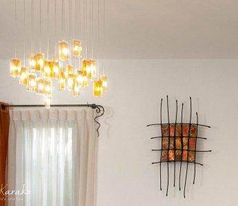 עיצוב בית פרטי ברחובות, גוף תאורה מעוצב מזכוכית, ענבל קרקו עיצוב פנים ופנג שואי