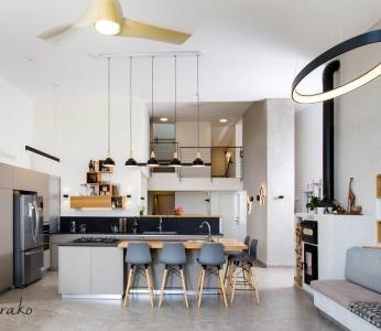 עיצוב וילה מודרנית בהרי ירושליים, מבט אל המטבח, ענבל קרקו עיצוב פנים ופנג שואי