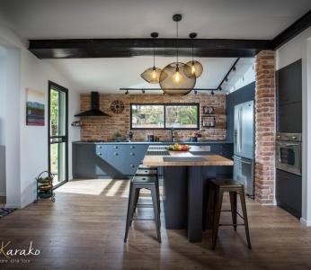 תכנון ועיצוב פנים של בית בצופית,מבט נוסף אל המטבח, ענבל קרקו עיצוב פנים ופנג שואי
