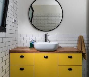 תכנון ועיצוב פנים של בית בצופית,מקלחת של מתבגרת, ענבל קרקו עיצוב פנים ופנג שואי