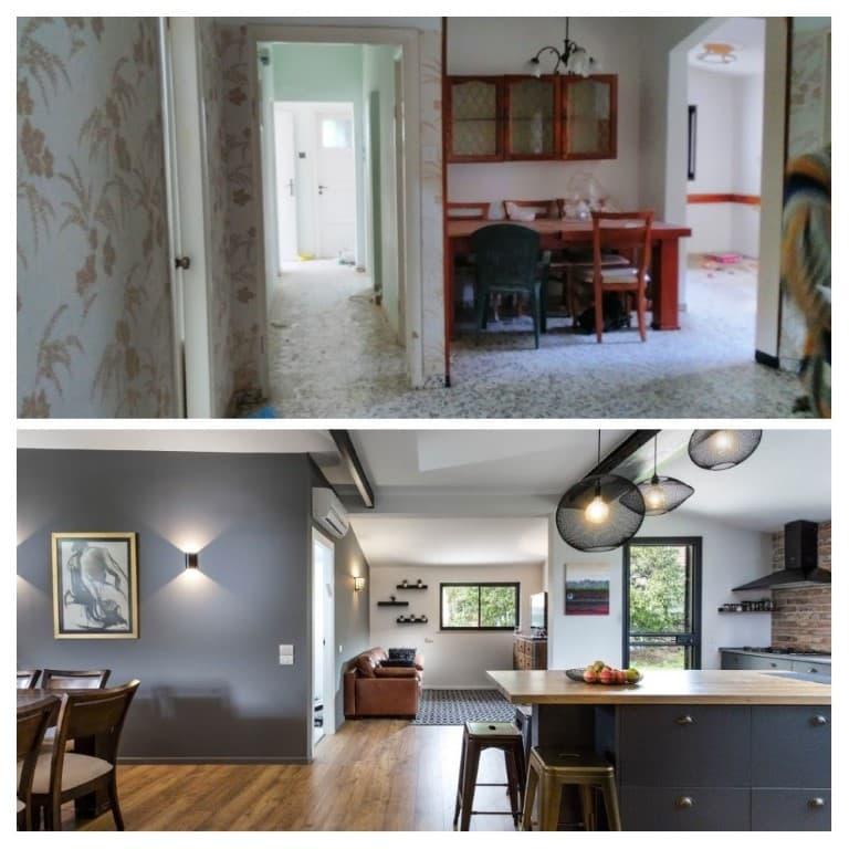 שיפוץ דירה לפני ואחרי, פינת אוכל במושב צופית, ענבל קרקו עיצוב פנים ופנג שואי