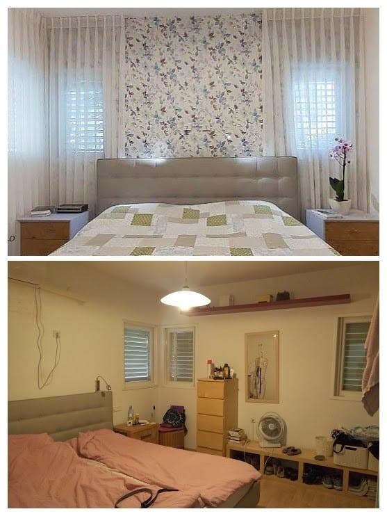 שיפוץ דירה לפני ואחרי, חדר שינה במשואות יצחק, ענבל קרקו עיצוב פנים ופנג שואי