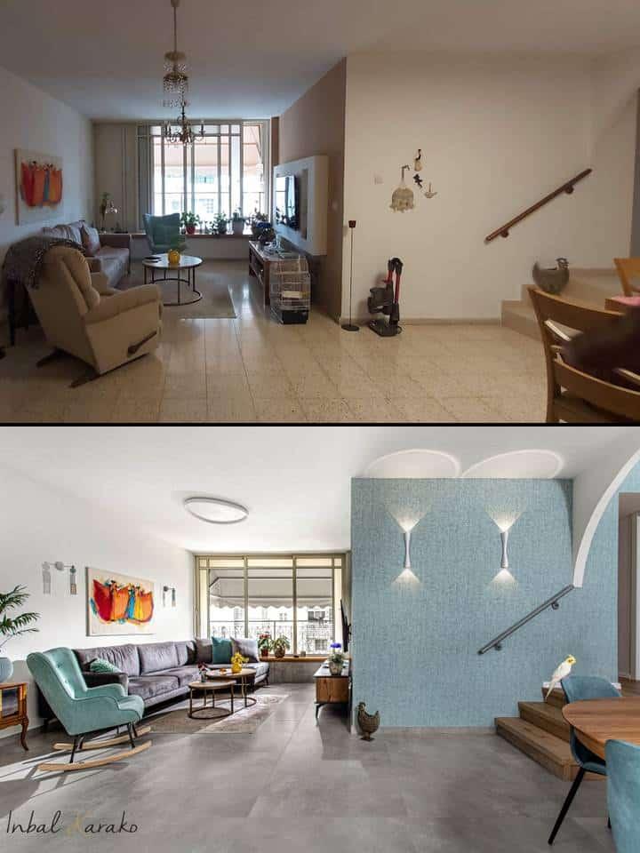 שיפוץ דירה לפני ואחרי, סלון ברחובות, ענבל קרקו עיצוב פנים ופנג שואי