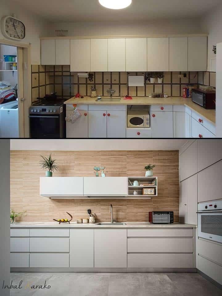 שיפוץ דירה לפני ואחרי, עיצוב מטבח מודרני חם דירה ברחובות, ענבל קרקו עיצוב פנים ופנג שואי