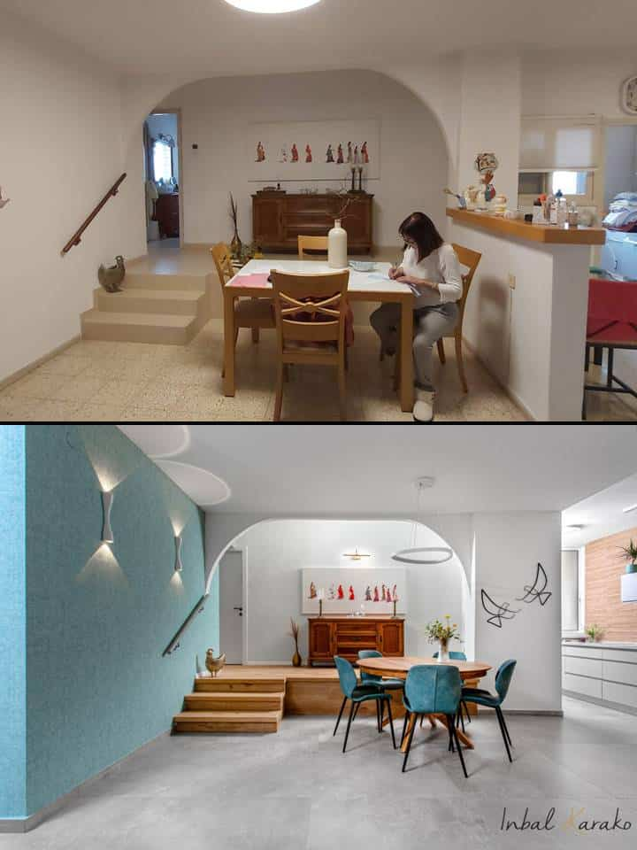 שיפוץ דירה לפני ואחרי, פינת אוכל ברחובות, ענבל קרקו עיצוב פנים ופנג שואי