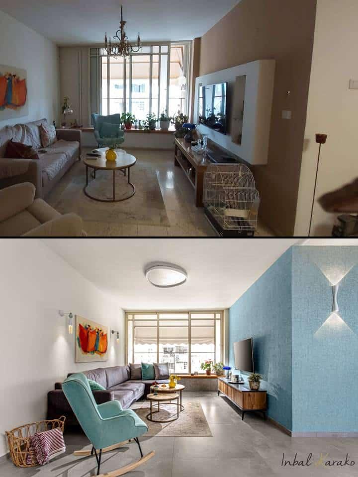 שיפוץ דירה לפני ואחרי, תקריב סלון מודרני חם דירה ברחובות, ענבל קרקו עיצוב פנים ופנג שואי