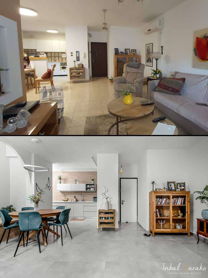 שיפוץ דירה לפני ואחרי, עיצוב מודרני חם דירה ברחובות, ענבל קרקו עיצוב פנים ופנג שואי