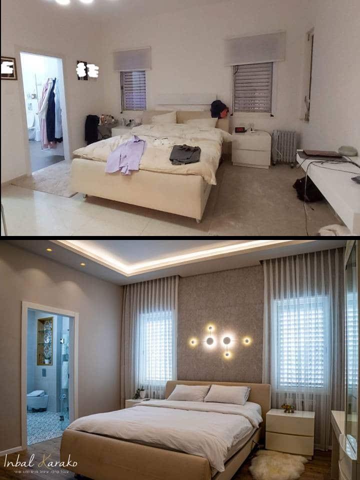 שיפוץ דירה לפני ואחרי, חדר שינה יוקרתי במרכז, ענבל קרקו עיצוב פנים ופנג שואי