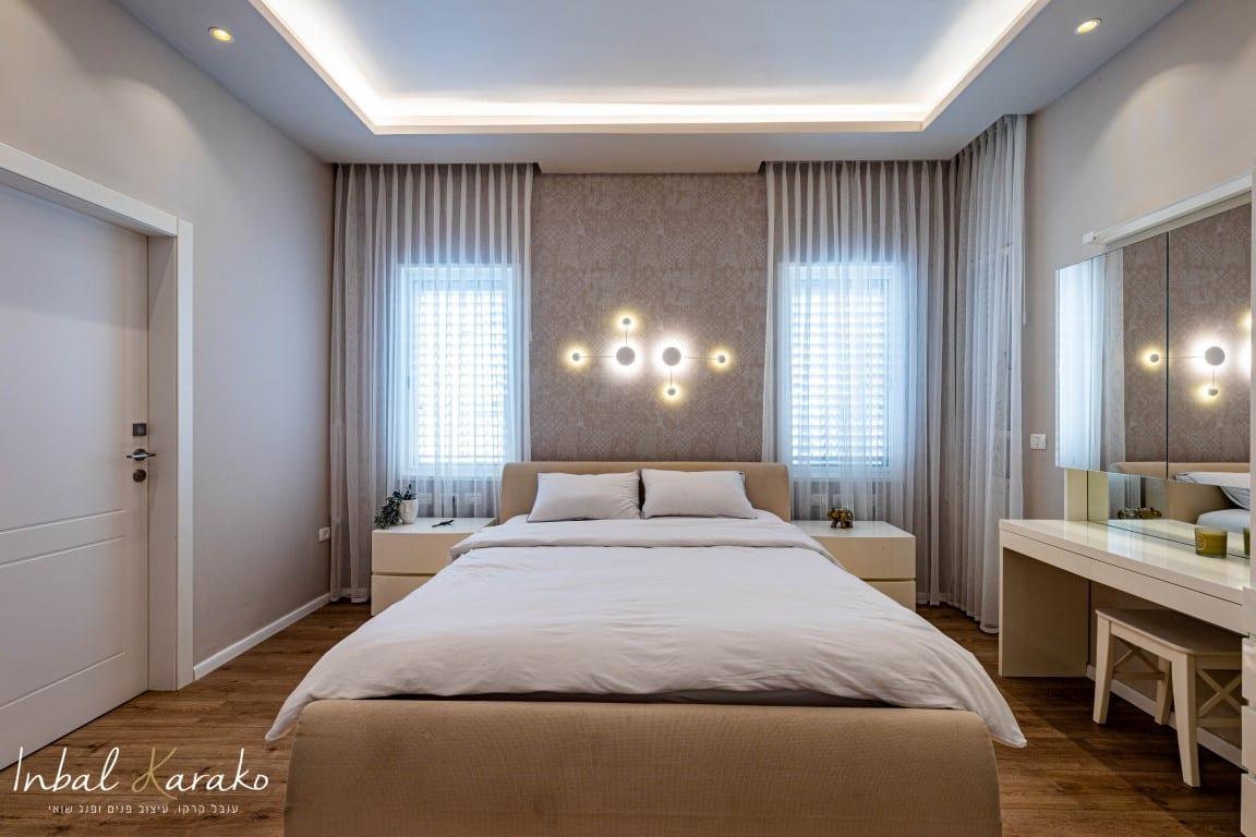 עיצוב דירות יוקרה, חדר שינה שמרגיש כמו מלון, ענבל קרקו עיצוב פנים ופנג שואי