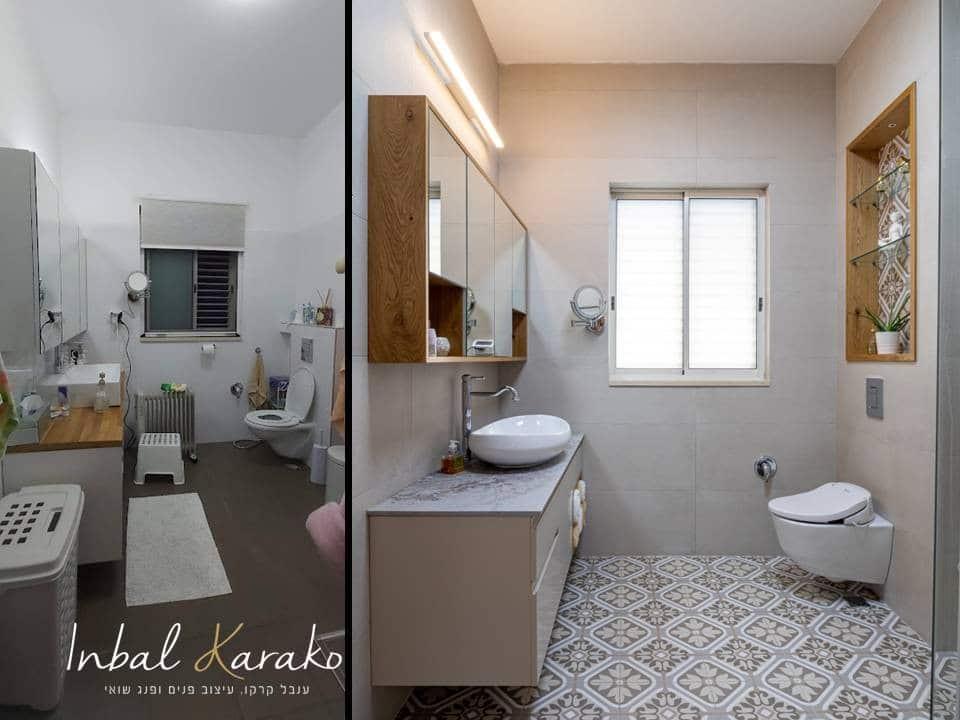 שיפוץ דירה לפני ואחרי, מקלחת הורים יוקרתית במרכז, ענבל קרקו עיצוב פנים ופנג שואי